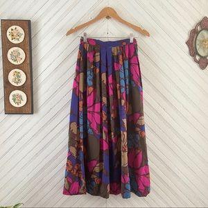 Vintage Bold Floral Midi Skirt